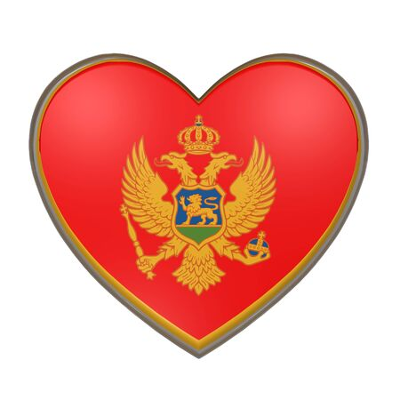 balkan peninsula: 3d rendering of a Montenegro flag on a heart. White background