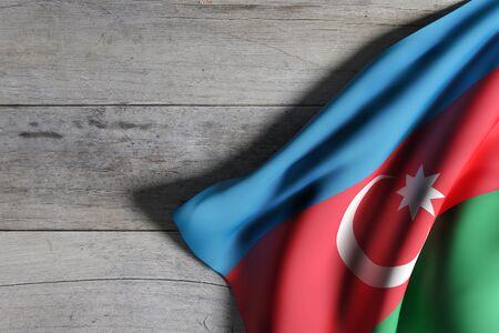 3D-weergave van een vlag van Azerbeidzjan die op houten achtergrond golft Stockfoto