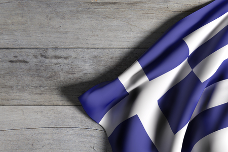 hellenic: 3d rendering of a Greece flag waving on wooden surface Stock Photo