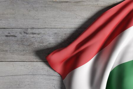 3d rendering of a Hungary flag waving on wooden background
