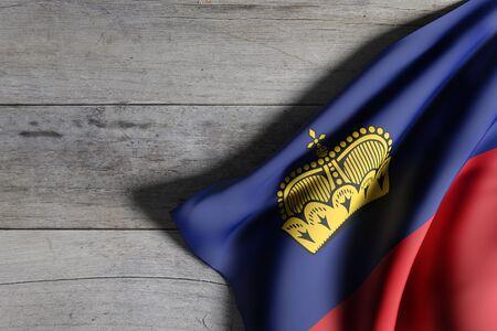 3d rendering of Liechtenstein flag waving on wooden background