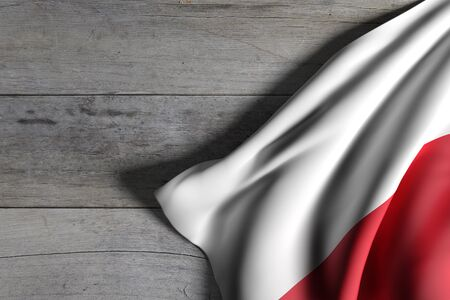 national geographic: 3d rendering of Poland flag waving on wooden background