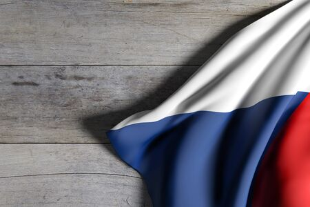 national geographic: 3d rendering of Czech Republic flag waving on wooden background