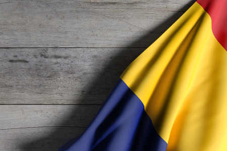 national geographic: 3d rendering of Romania flag waving on wooden background Stock Photo