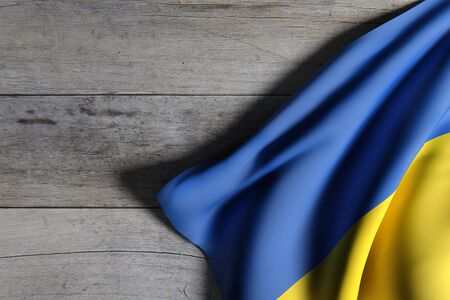national geographic: 3d rendering of an Ukraine flag waving on wooden background
