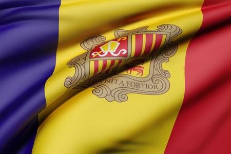 3d rendering of an Andorra flag waving