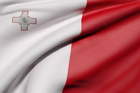 national geographic: 3d rendering of Republic of Malta flag waving Stock Photo