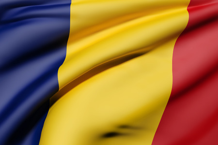 national geographic: 3d rendering of Romania flag waving