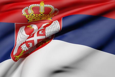 balkan peninsula: 3d rendering of a Republic of Serbia flag waving