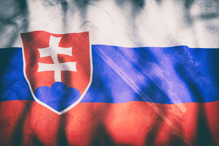 bratislava: 3d rendering of an old Slovakia flag waving Stock Photo