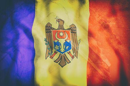 moldovan: 3d rendering of an old Republic of Moldova flag waving Stock Photo