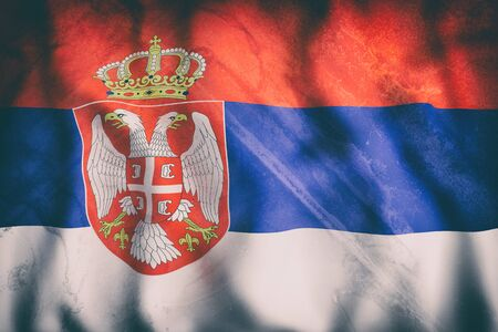 3d rendering of an old Republic of Serbia flag waving