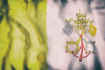 3d rendering of an old Vatican flag waving