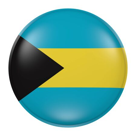 3d rendering of Bahamas flag on a button