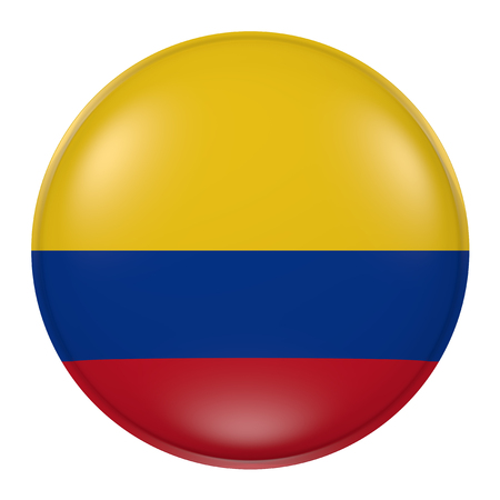 3d rendering of Colombia flag on a button