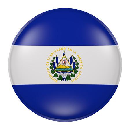 bandera de el salvador: Las 3D de la bandera de El Salvador en un botón Foto de archivo