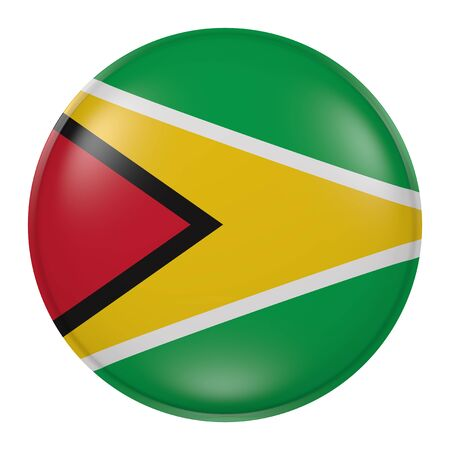 georgetown: 3d rendering of Guyana flag on a button