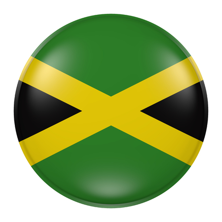 jamaican: 3d rendering of Jamaica flag on a button