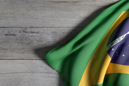 americas: 3d rendering of Brazil flag waving on a wooden background Stock Photo