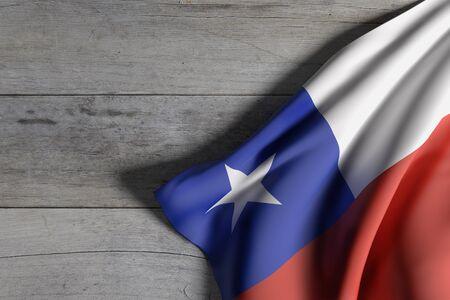 bandera de chile: Las 3D de la bandera de Chile que agita en el fondo de madera
