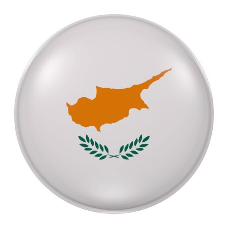 3d rendering of  Cyprus flag on a button