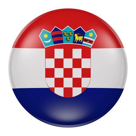 bandera de croacia: Las 3D de la bandera de Croacia en un botón Foto de archivo