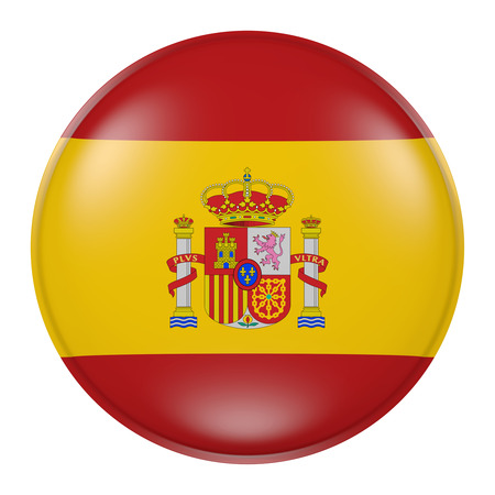 3d rendering of Spain flag on a button