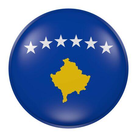 balkan peninsula: 3d rendering of  Kosovo flag on a button