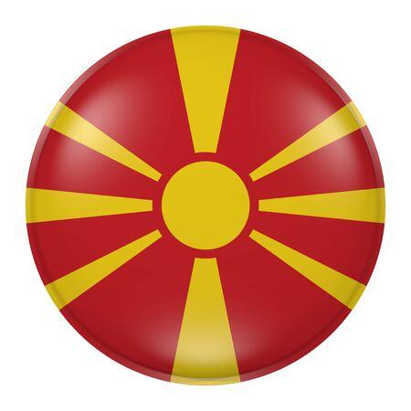 balkan peninsula: 3d rendering of  Macedonia flag on a button Stock Photo