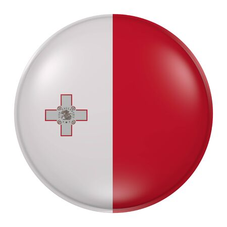 malta: 3d rendering of Malta flag on a button