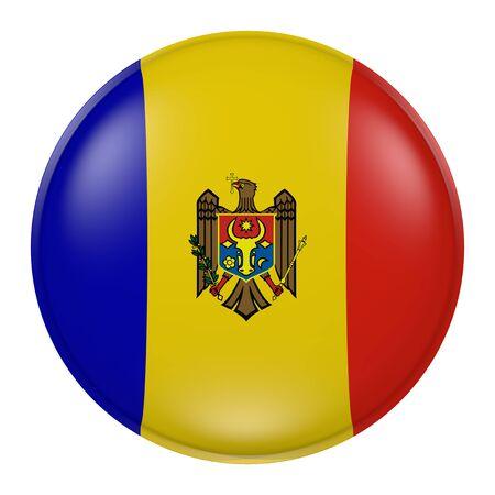 moldova: 3d rendering of  Moldova flag on a button Stock Photo