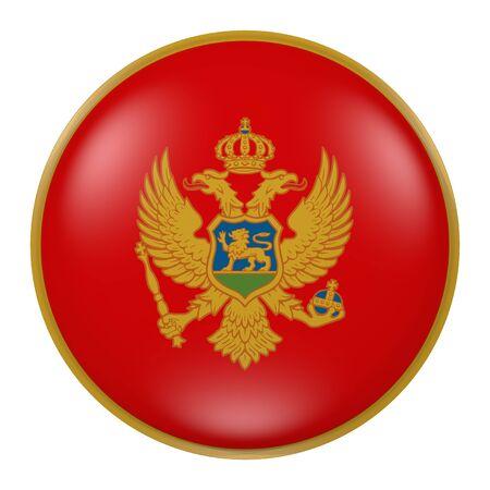 balkan peninsula: 3d rendering of Montenegro flag on a button Stock Photo