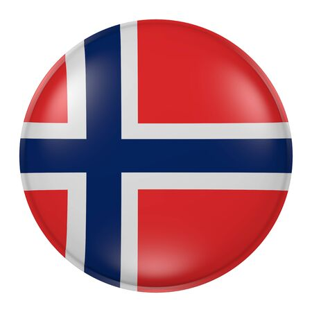 norway flag: 3d rendering of  Norway flag on a button Stock Photo