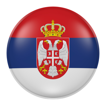 balkan peninsula: 3d rendering of  Serbia flag on a button
