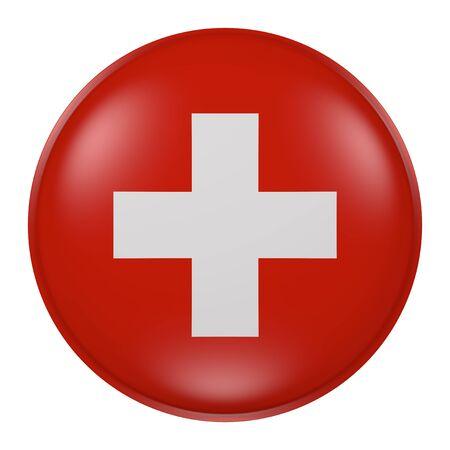 Rendu 3d de la Suisse drapeau sur un bouton Banque d'images - 66358584
