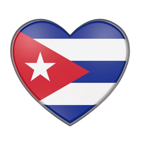 3d rendering of a Cuba flag on a heart. White background
