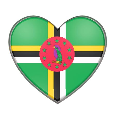 3d rendering of a Dominica flag on a heart. White background