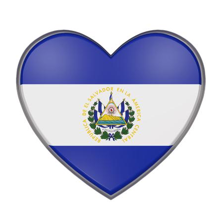 bandera de el salvador: representación 3D de una bandera de El Salvador en un corazón. Fondo blanco