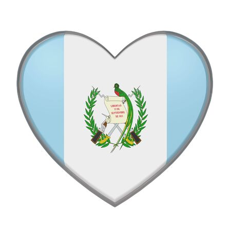 bandera de guatemala: 3d rendering of a Guatemala flag on a heart. White background