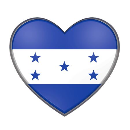 3d rendering of an Honduras flag on a heart. White background