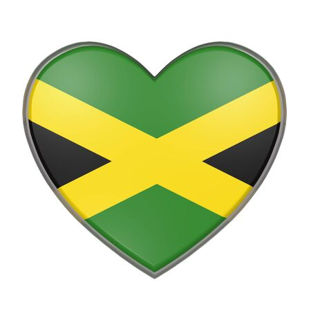 jamaican: 3d rendering of a Jamaica flag on a heart. White background Stock Photo