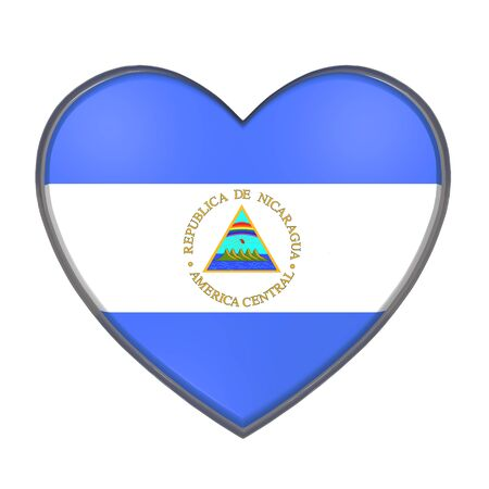 nicaragua: 3d rendering of a Nicaragua flag on a heart. White background