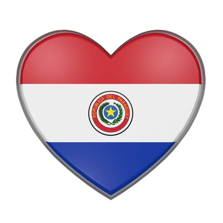 americas: 3d rendering of a Paraguay flag on a heart. White background