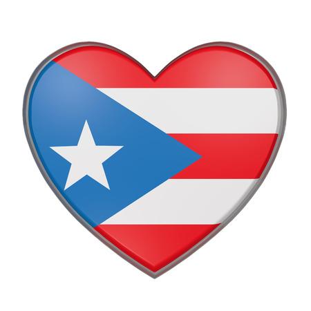 bandera de puerto rico: representación 3D de una bandera de Puerto Rico en un corazón. Fondo blanco