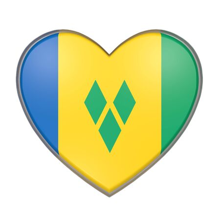 3d rendering of a Saint Vincent and the Grenadines flag on a heart. White background