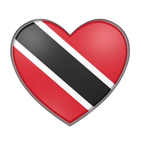 port of spain: 3d rendering of a Trinidad and Tobago flag on a heart. White background