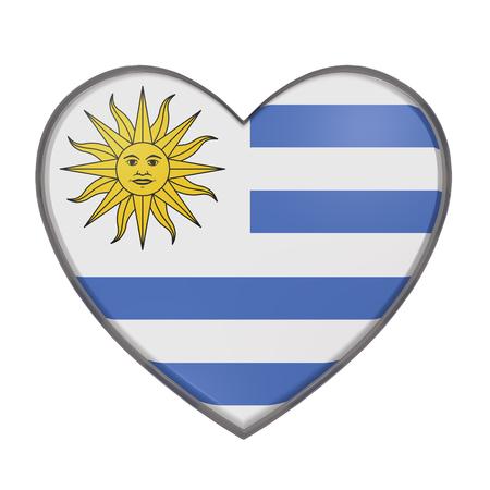 bandera uruguay: representación 3D de una bandera de Uruguay en un corazón. Fondo blanco