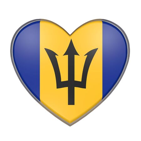 antilles: 3d rendering of a Barbados flag on a heart. White background