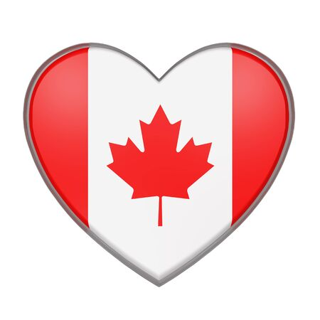 3d rendering of a Canada flag on a heart. White background