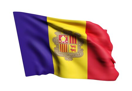 3d rendering of an Andorra flag waving on a white background Stock Photo
